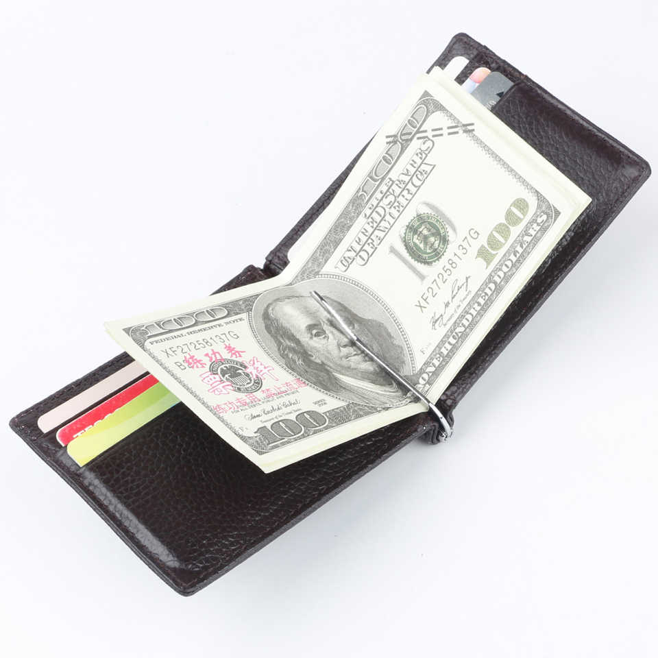 Limited Edition Genuine Leather RFID Money Clip Wallet Slim with Metal Holder Magnet Hasp Clips  Pocket Purse Money Bag Clamp
