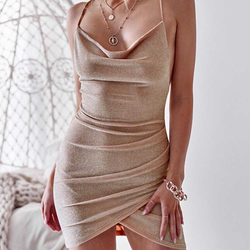 Sexy mouwloze halter met een slank, backless jurk met hoge kwaliteit casual mode ruches en een onregelmatige mini jurk nieuwe