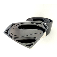 Black Pu Leather Men Belt With Superhero Superman Belt Buckle Metal Mens Big Buckle Belts Male
