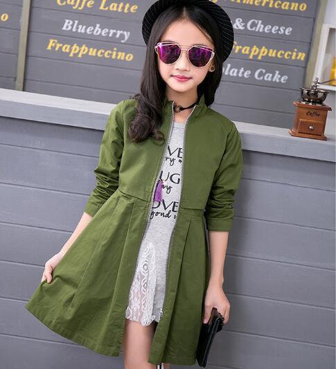 Детские куртки для девочек, тренчи, пальто хлопковая одежда с длинными рукавами для девочек весенне Осенняя детская верхняя одежда для детей от 3 до 13 лет