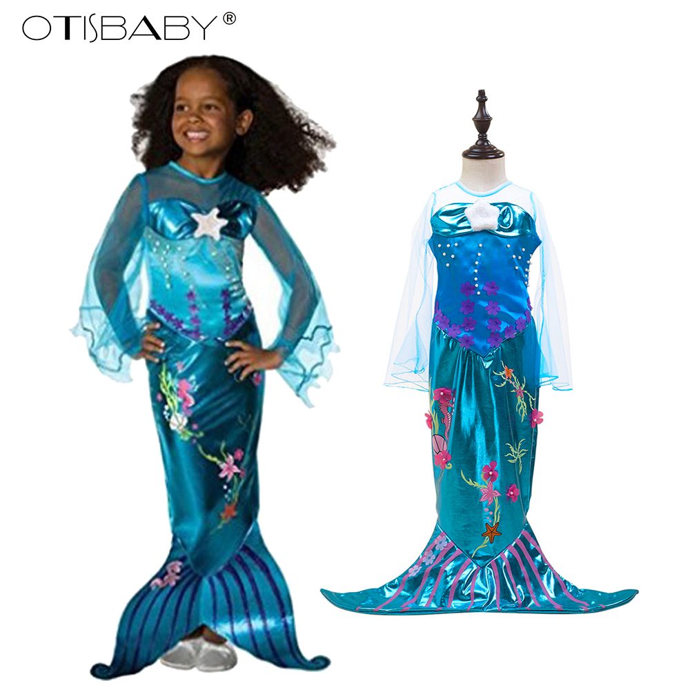 2017 New Girls Mermaid Dresses with Pearl Children Halloween Little Mermaid Ariel Cosplay Costumes for Kids Carnival Party Dress туфли quelle tamaris 238913