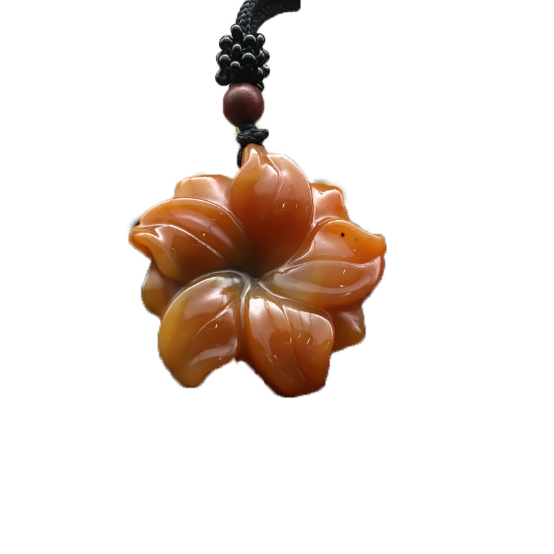 YunNan HuangLong Jade Flower Pendant Necklace Sweater Chain Drop Shipping Hand Carved Jade Stone Necklace With Chain