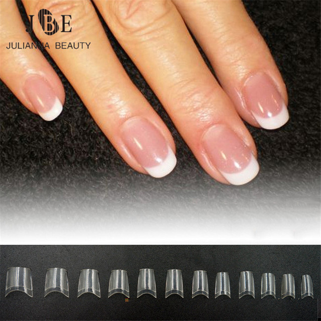 French Short Nail Tip Clear White False Art Abs Artificial Half Fake