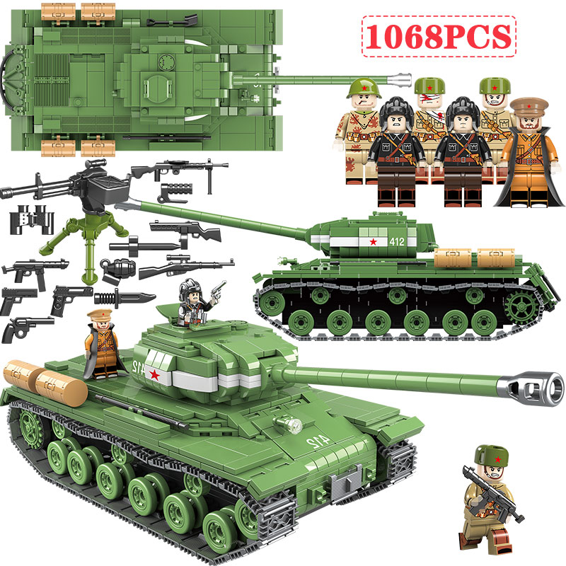 1068 PCS WW2 Military Soviet Russia IS-2M Heavy Tank Soldier Building Blocks Vehicle Army Weapon Toys