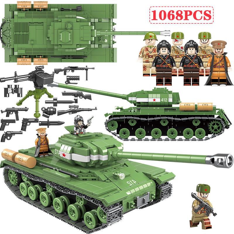 1068 PCS WW2 Military Soviet Russia IS-2M Heavy Tank Soldier Building Blocks WW2 Military Tank Vehicle Army Weapon Blocks Toys