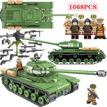1068 PCS WW2 Military Soviet Russia IS-2M Heavy Tank Soldier Building Blocks WW2 Military Tank Vehicle Army Weapon Blocks Toys pre order resin toys 35040 ww2 russian tank crew free shipping
