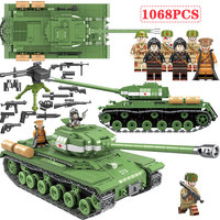 1068 PCS WW2 Military Soviet Russia IS 2M Heavy Tank Soldier Weapon Vehicle Army Building Blocks Compatible Legoed Military Tank