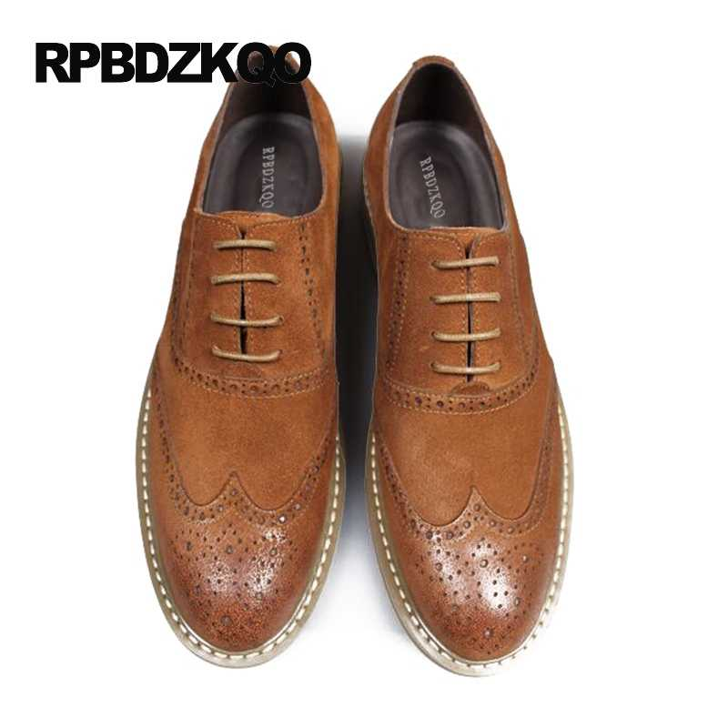 1dab341d0e6 ... Wingtip Brogue Oxfords Dress Tan Men Formal Suede Shoes Elegant Genuine  Leather Italy Business Office Big ...