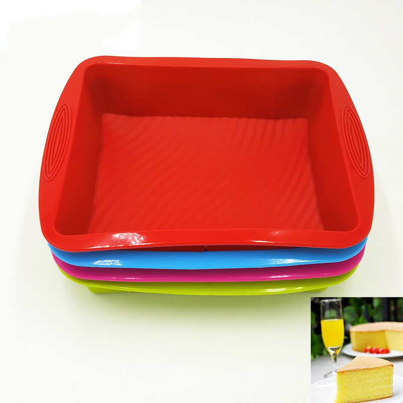 29*23*6CM 260G 2017 Hot Sale Big and Beautiful Square Quadrate Shape Silicone Cake Mold Baking Tools