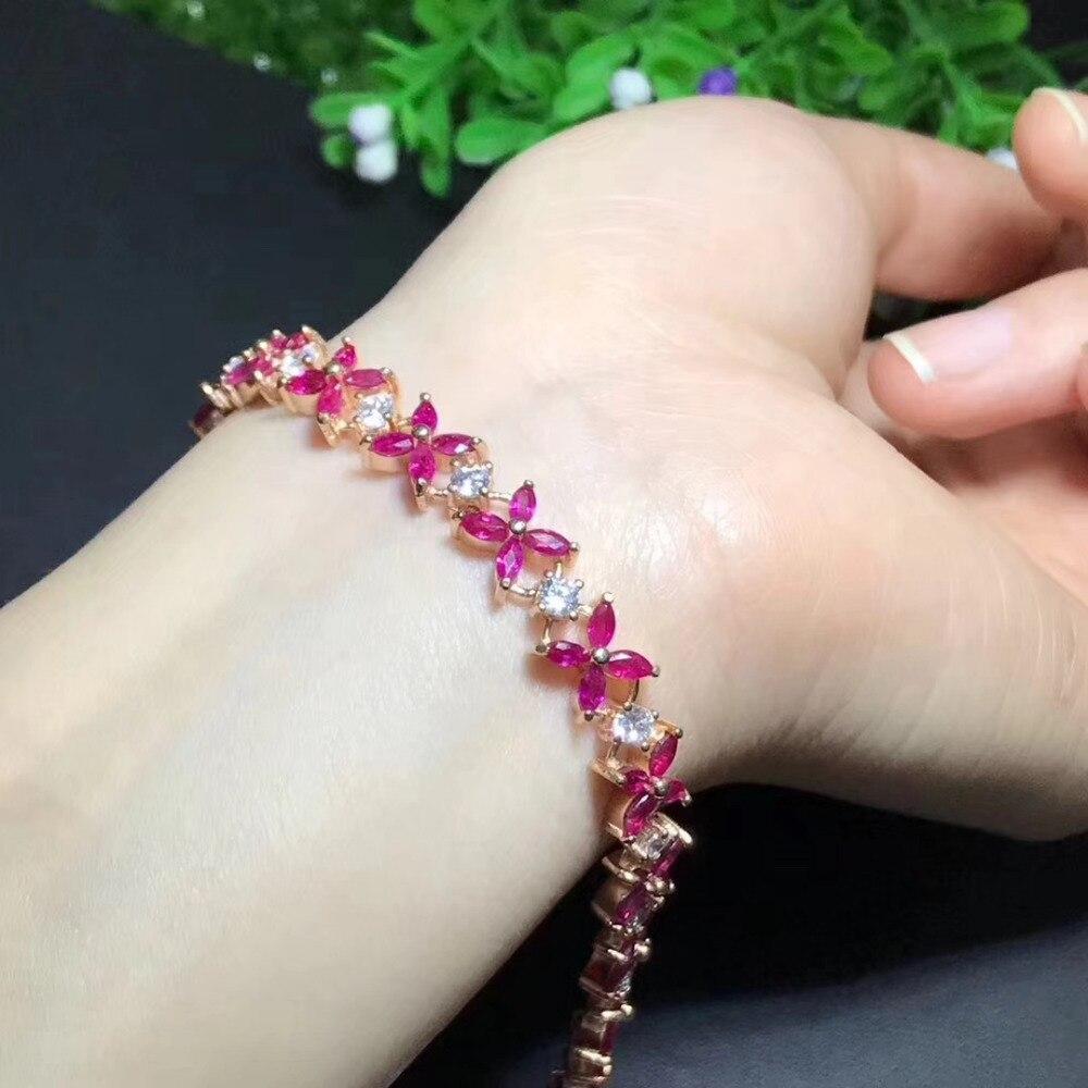 Natural red ruby Bracelet Natural gemstone Bracelet 925 silver bracelet luxurious big array Clover women wedding