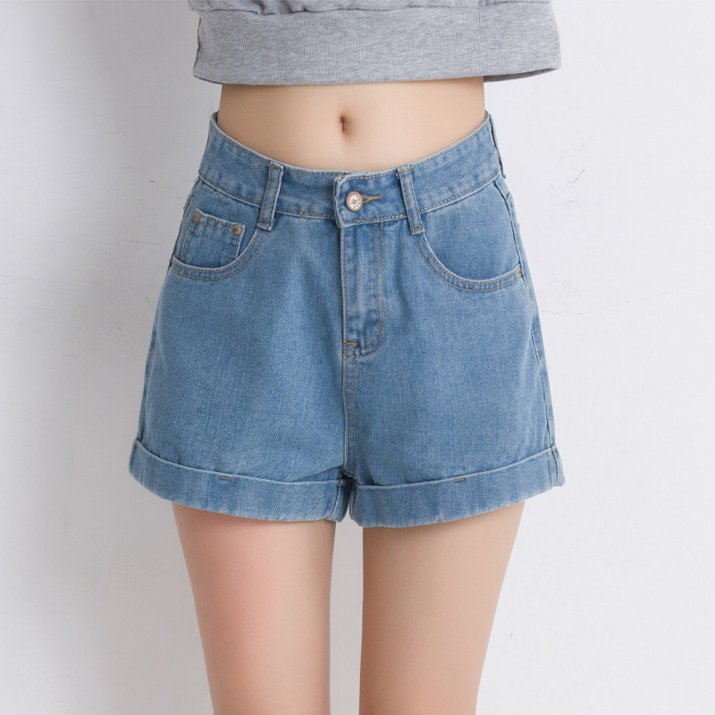 2017 new High waist Woman denim shorts female summer light-colored loose lager size. wide leg casual curling women short jeans
