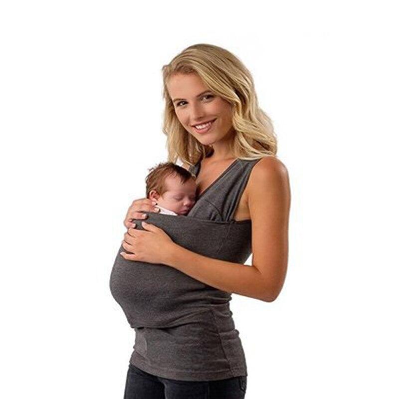 Mulheres multifuncionais Portador de Bebê Canguru Acalmar T Camisas Homens Papai Do Bebê Camiseta