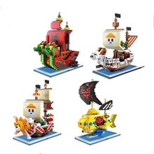 Mini Qute ZMS Anime cartoon one piece Going Merry Thousand Sunny pirate ship building blocks action figure model educational toy