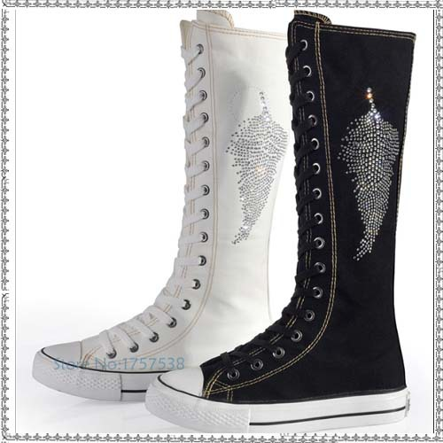 8f20febaa2d hot sale women s knee high lace up canvas punk boots zipper fashion  rhinestone flat heel shoes long boots female casual shoes - aliexpress.com  - imall.com