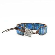 New Punk Bracelet Femme Natural Japser Stone Single Leather Wrap Beads Bohemia Beach Jewelry