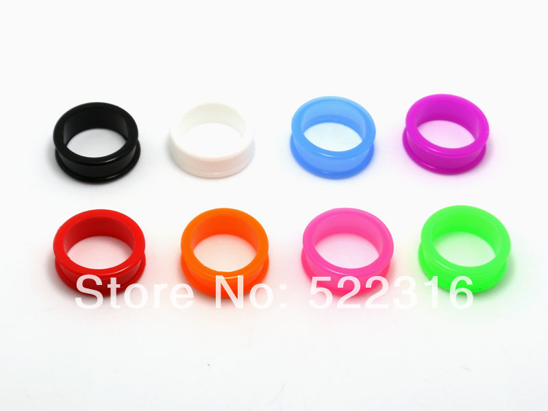 JEWEL free shipping body piercing jewelry silicone double flare big size ear gauges mix 8 colors 7 sizes ear plug tunnel