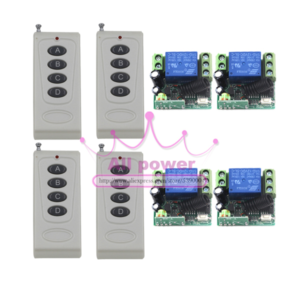 DC12V Remote Control Switch1CH 10A Relay Receiver Door Access Control Light Lamp LED Power Remote ON OFF Wireless Switch 4Button 220v ac 10a relay receiver transmitter light lamp led remote control switch power wireless on off key switch lock unlock 315433