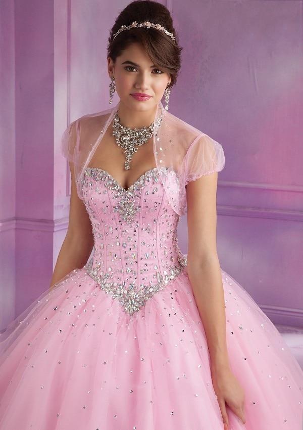 Nueva bola de la manera vestidos de novia cristales detalles rosa ...