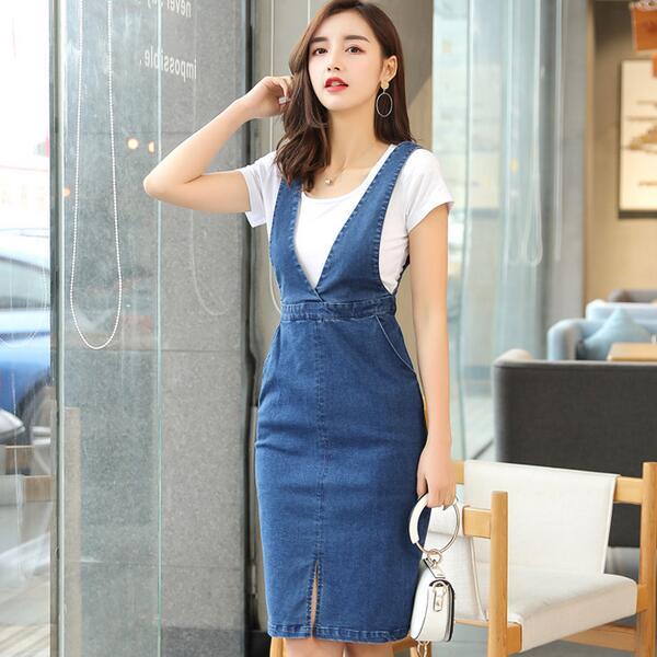 Summer Women Denim Dress Denim Sundress Girls Office Lolita Overalls Female Solid Color Adjustable Straps Jeans Dresses Wf29 Dresses