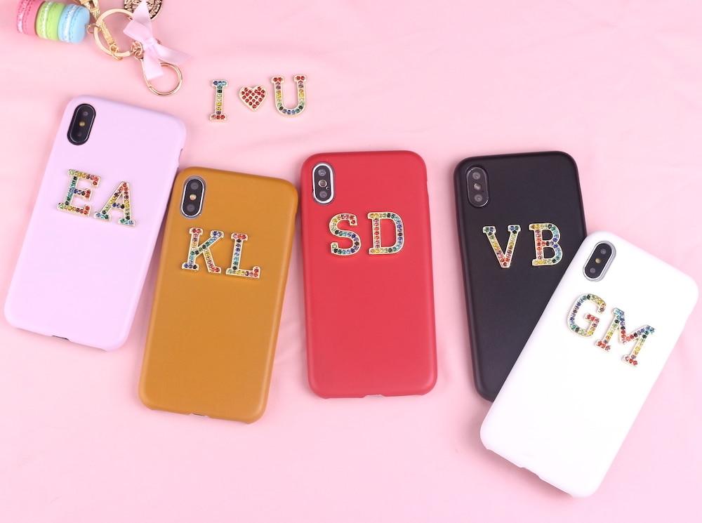 Стразы, бриллианты, кристалл, металл, индивидуальные инициалы для iPhone 11 Pro 6S XS Max XR 7 7Plus 8 8Plus X, гладкий тонкий кожаный чехол