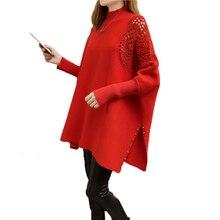 Женский свитер, пуловеры, осень, Свободный плащ большого размера, пальто, весна, летучая мышь, длинный рукав, полый свитер, водолазка, вязаный свитер