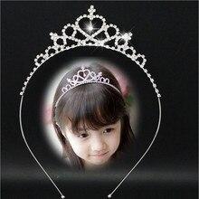 2017 New Cute Heart Princess Crown Tiara Rhinestone Corona Diadem Hairwear Hair Jewelry Lovely Wedding Girls Bridesmaid Headband rhinestone two heart princess tiara
