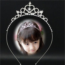 2017 New Cute Heart Princess Crown Tiara Rhinestone Corona Diadem Hairwear Hair Jewelry Lovely Wedding Girls Bridesmaid Headband(China)