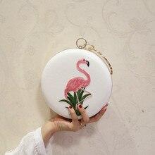 Mulheres bordados flamingo sacos de noite luxo em forma redonda casamento feminino jantar sacos ombro bolsa embreagem