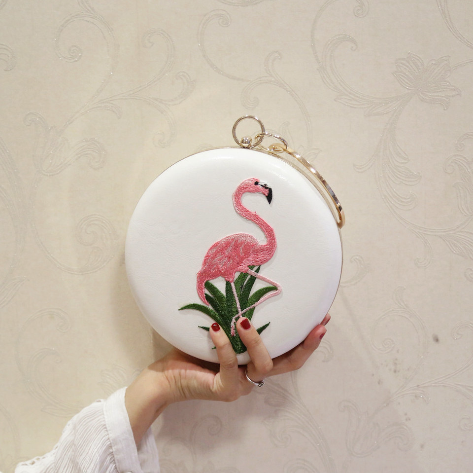Women Embroidery Flamingo Evening Bags Luxury Round Shaped Female Wedding Dinner Bags Shoulder Bags Clutch Purse