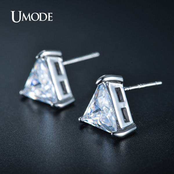Umode Pointed Corner Triangle Stud Earrings Top Grade Cubic Zirconia White Gold Color Summer Style Earring Bisuteria Ue0154 In From Jewelry