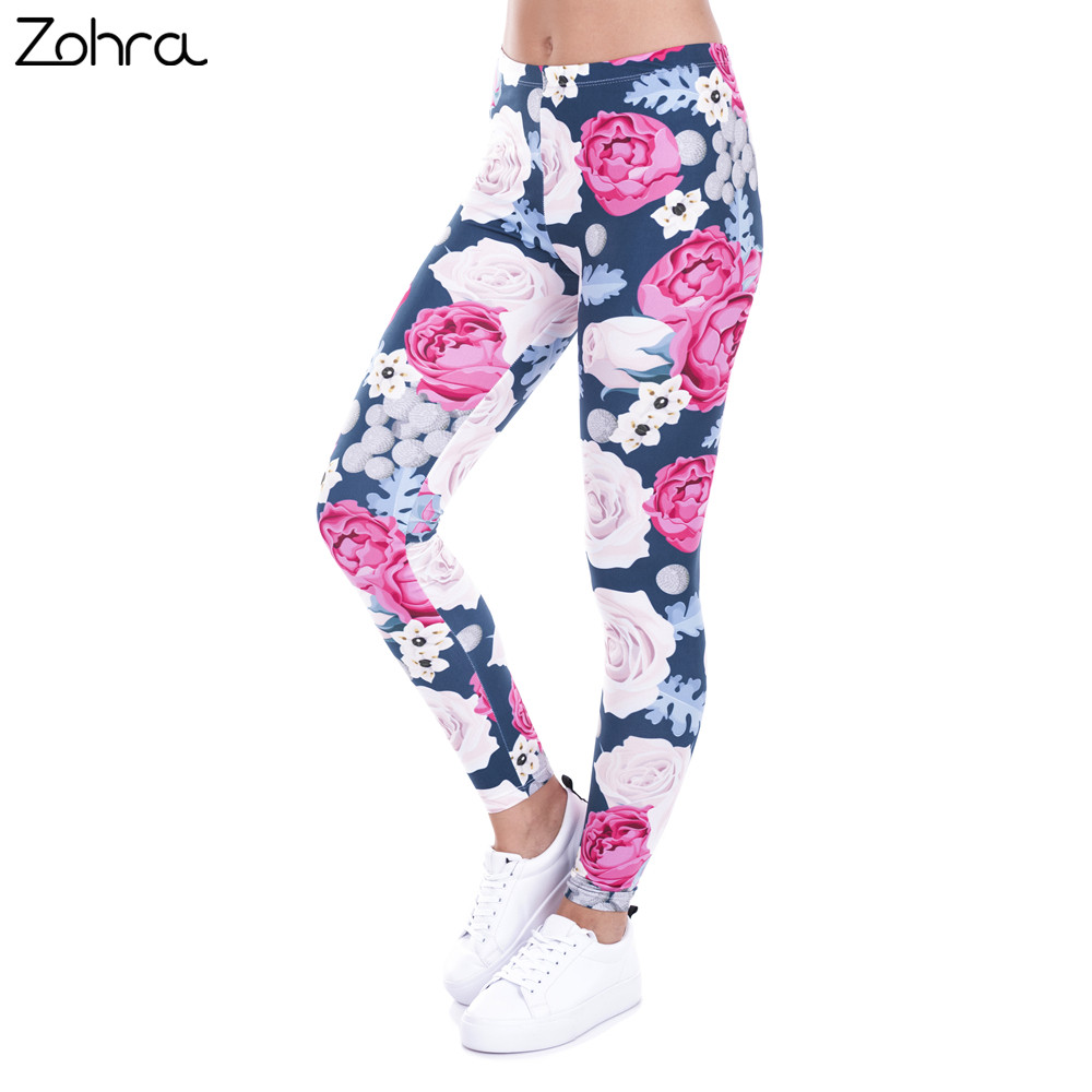 Zohra marke herbst frauen leggings charming wilde rosen druck legging beiläufige leggins slim fit leggings frauen hosen