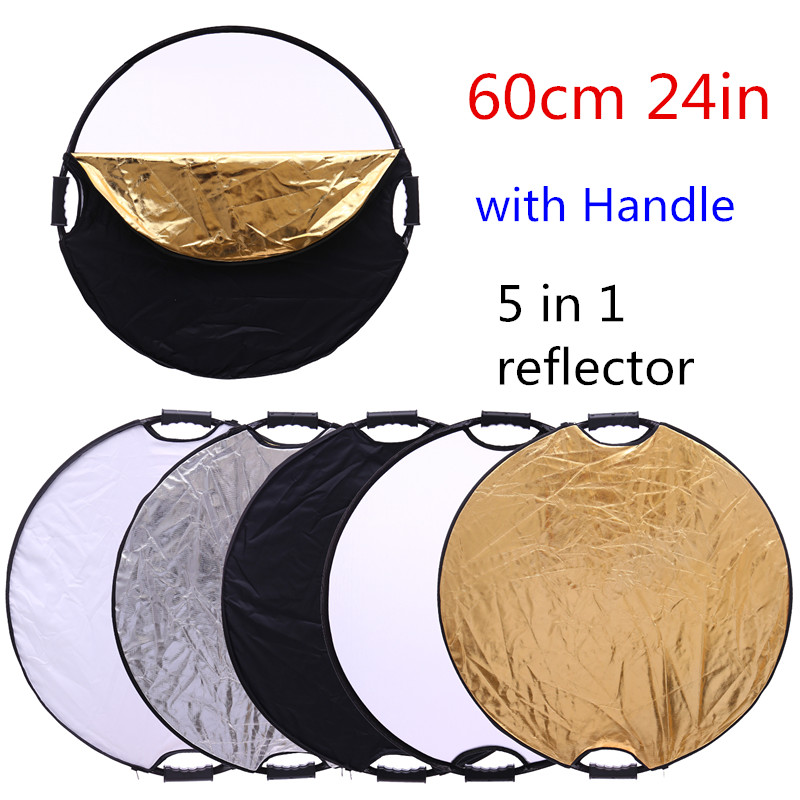 CY 24 60cm 5 in 1 Fashion Portable Collapsible Light Round Photography Reflector with the handle for Studio Multi Photo Disc