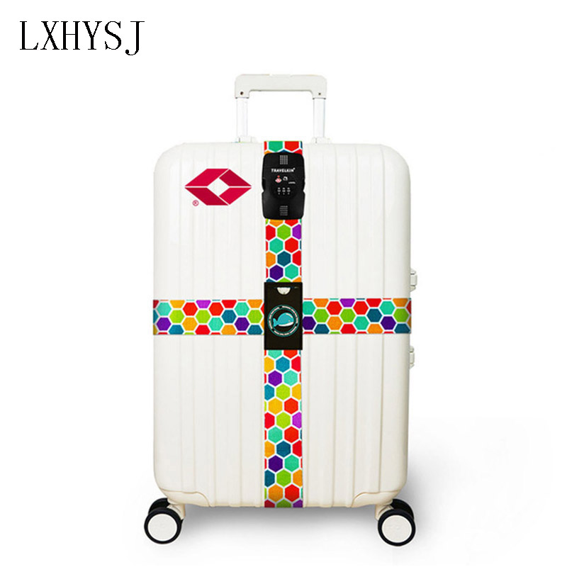цена на LXHYSJTSA 3-digit code lock adjustable Luggage Strap Suitcase Strap Quick Release Travel Accessories Baggage Belt With