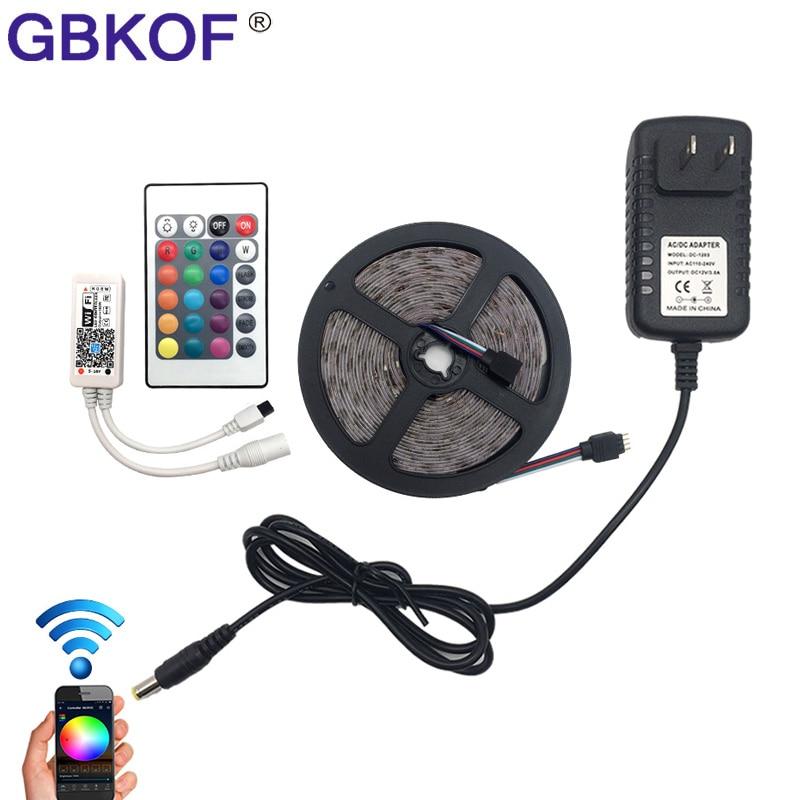 IP20 / IP65 waterproof RGB LED Strip light 5M 10M LED lighting 3528 2835 SMD LED Tape+DC 12V Power Adapter+WiFi/ 24key Control waterproof 5m smd 3528 led strip light 12v
