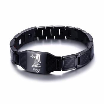 Vnox 12 Horoscope Sagittarius Symbols Power Bracelets for Men Stainless Steel Insert Carbon Fiber Heavy Punk Wristband 14