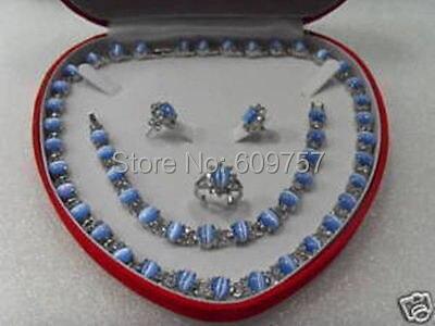 Bijoux naturels nouveau bleu opale bracelet collier anneau boucles d'oreilles ensemble argent crochet bijoux ensembles porte-clés marvel choker pour les femmes