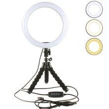 Kit de fotografia led 16 26cm selfie vara anel luz pode ser escurecido câmera telefone estúdio vídeo maquiagem lâmpada com flexível polvo tripé