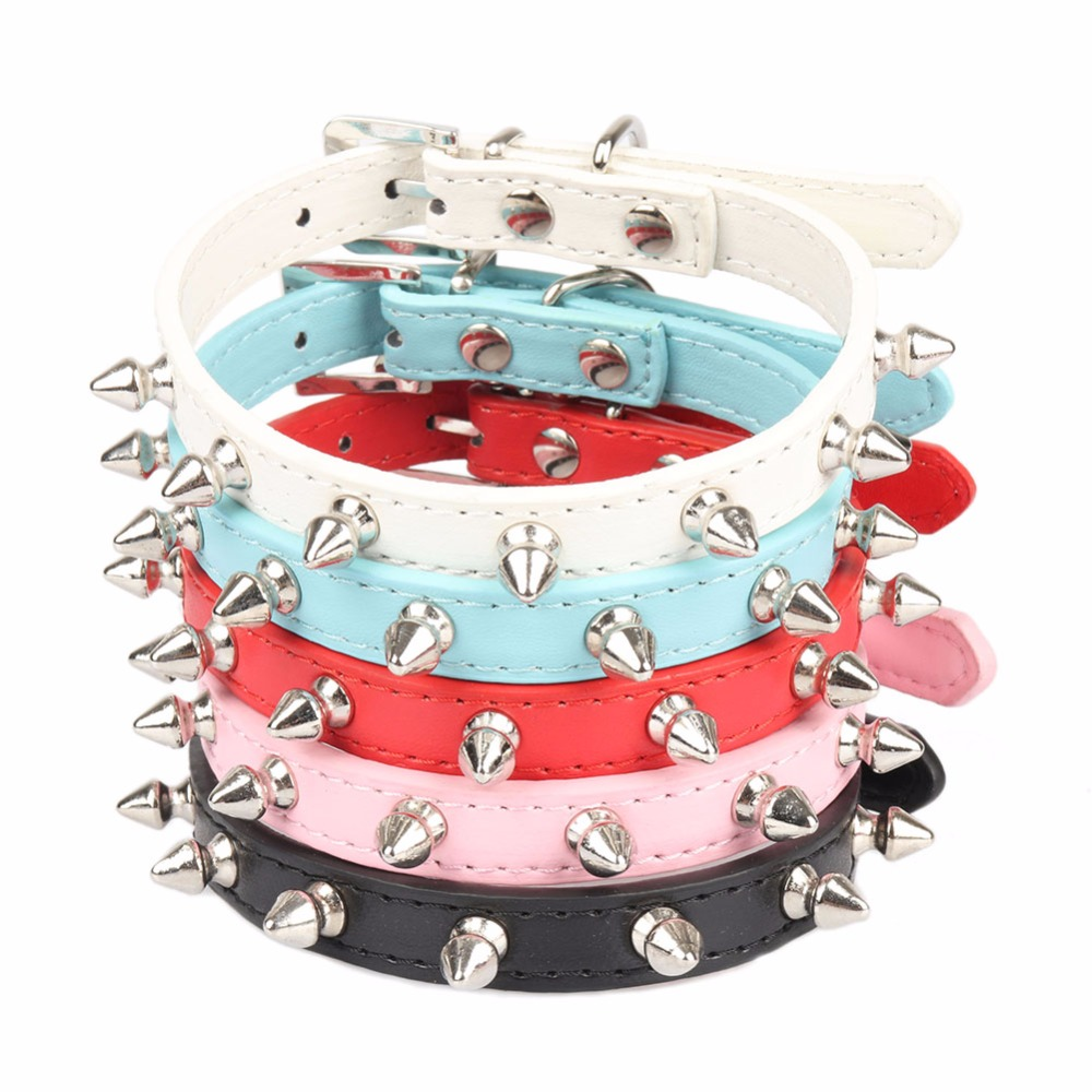 PipiFren Dogs Collars Pitbull Spiked Rivet For Small Pets Puppy Cat Collar Necklace Accessories Supplies Collier chien cachorro