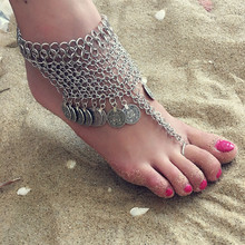 BeautyWay Bohemia Silver Color Multi Chain Coin Tassel Anklets for Women Boho Summer Beach Foot Chain Anklets Jewelry 4125