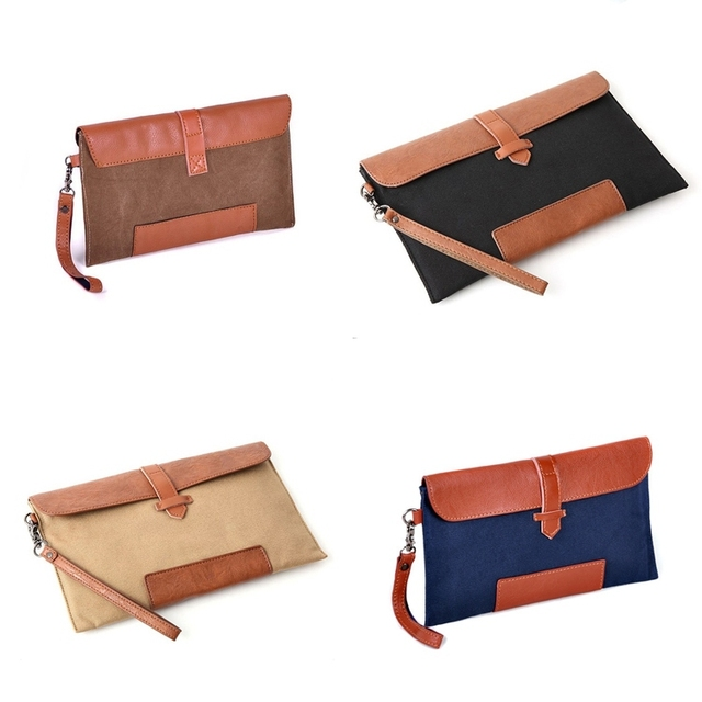 Wholesale Men Envelope Clutch bag Canvas Faux leather Male small file  Handbag wristlets Free Shipping Korean style ZC0007 23125eab23585