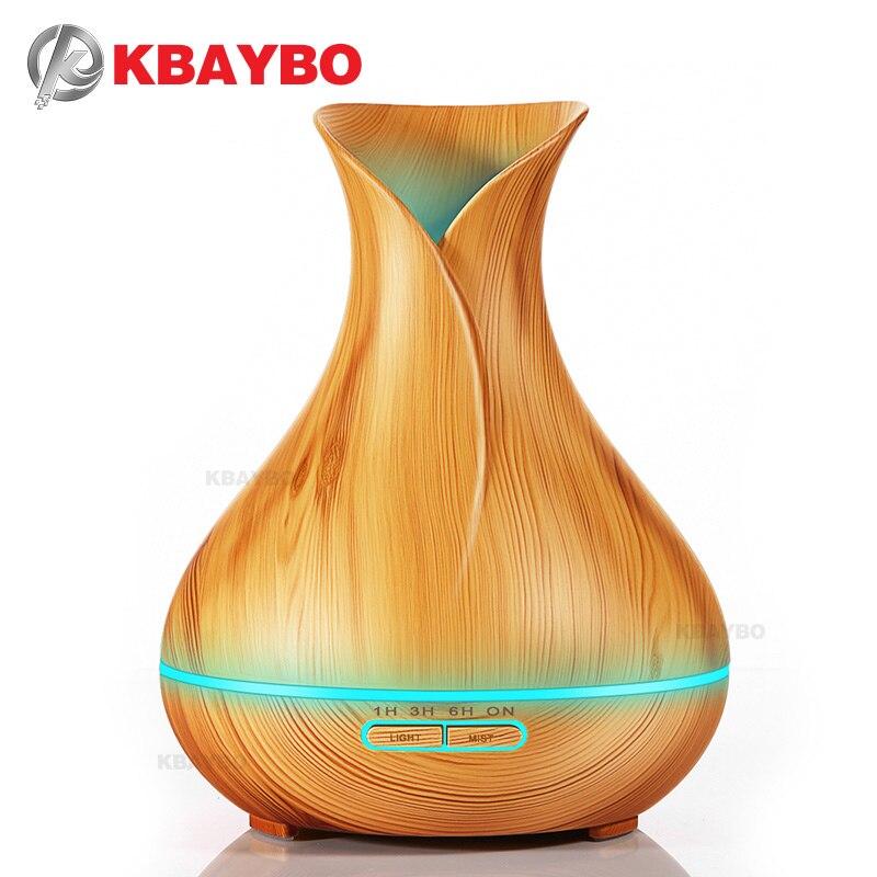 400 ml Aroma Ätherisches Öl Diffusor Ultraschall-luftbefeuchter mit Holzmaserung 7 Farbwechsel Led-leuchten für Office Home