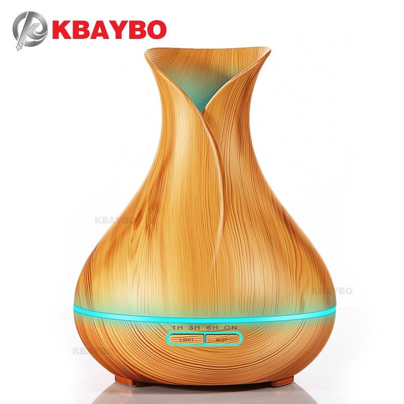 400 ml Aroma difusor de aceite esencial humidificador de aire ultrasónico con grano de madera 7 Color cambio luces LED para oficina inicio