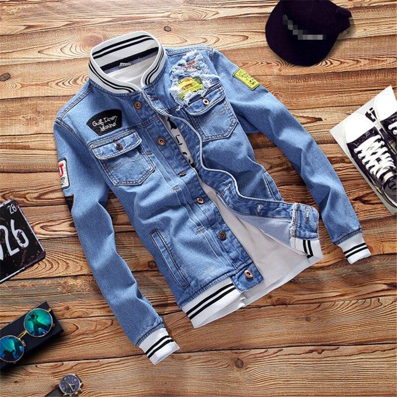 2019 New Denim Jacket Mens Hip Hop Hole Casual Bomber Jacket Coat Autumn Slim Stand Jean Jacket Plus Size S 5XL Chaqueta Hombre