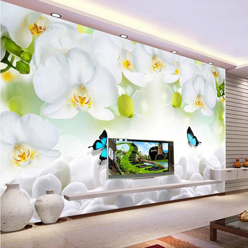 3D Custom Mural Photo Wallpaper White Orchid Butterfly Flowers Wall Papers Murals Living Room TV Sofa Background Papel De Parede