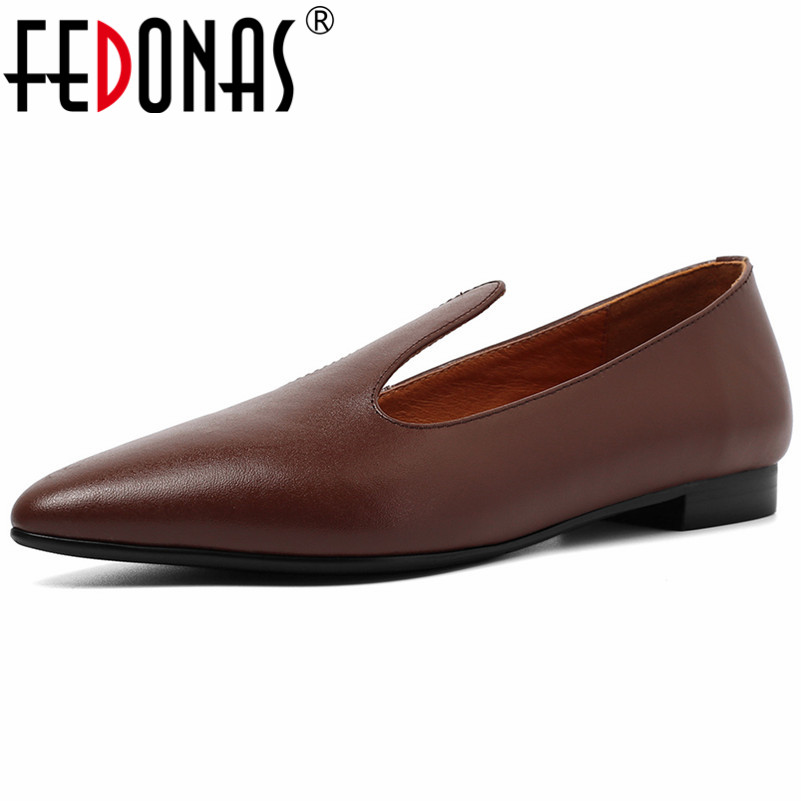 FEDONAS Fashion Pointed Toe Low Heels Women Pumps Shallow Slip on Spring Summer Genuine Leather Single Shoes Woman Office ShoesFEDONAS Fashion Pointed Toe Low Heels Women Pumps Shallow Slip on Spring Summer Genuine Leather Single Shoes Woman Office Shoes