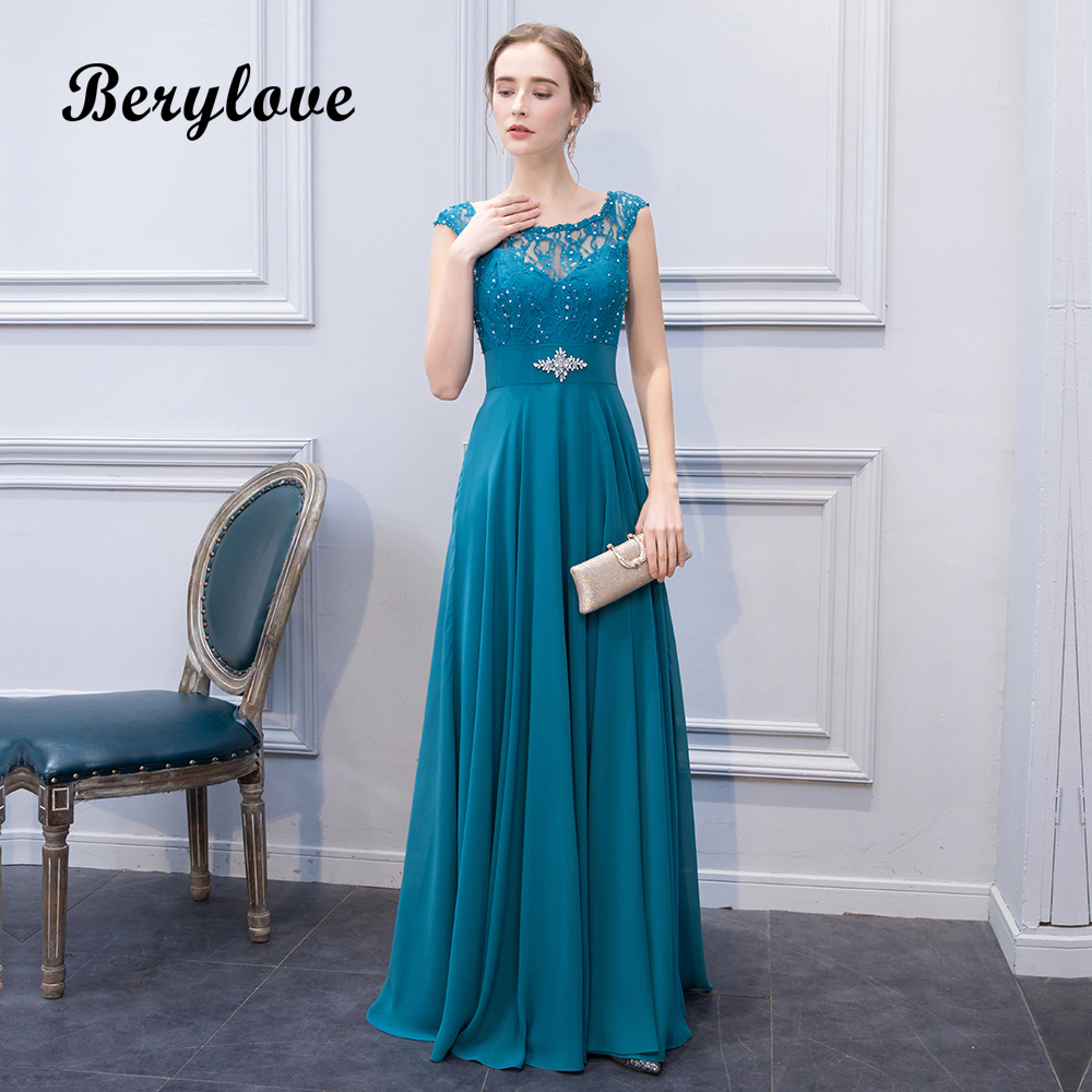 BeryLove Vintage Teal Evening Dresses 2018 Long Beaded Lace Prom ...