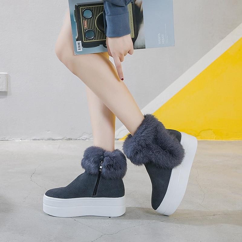 Femmes Chaude Increasd gris Automne Marque Femelle Jookrrix Avec Fourrure forme La Chaussures De Mode Noir Neige Zip Dame Bottes Plate Chaussure fBwIwqa