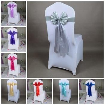 Banda para silla de LICRA de 14 colores, lazo de mariposa de cola larga, banda de spandex lista para confeccionar, cinta de decoración para sillas de boda al por mayor