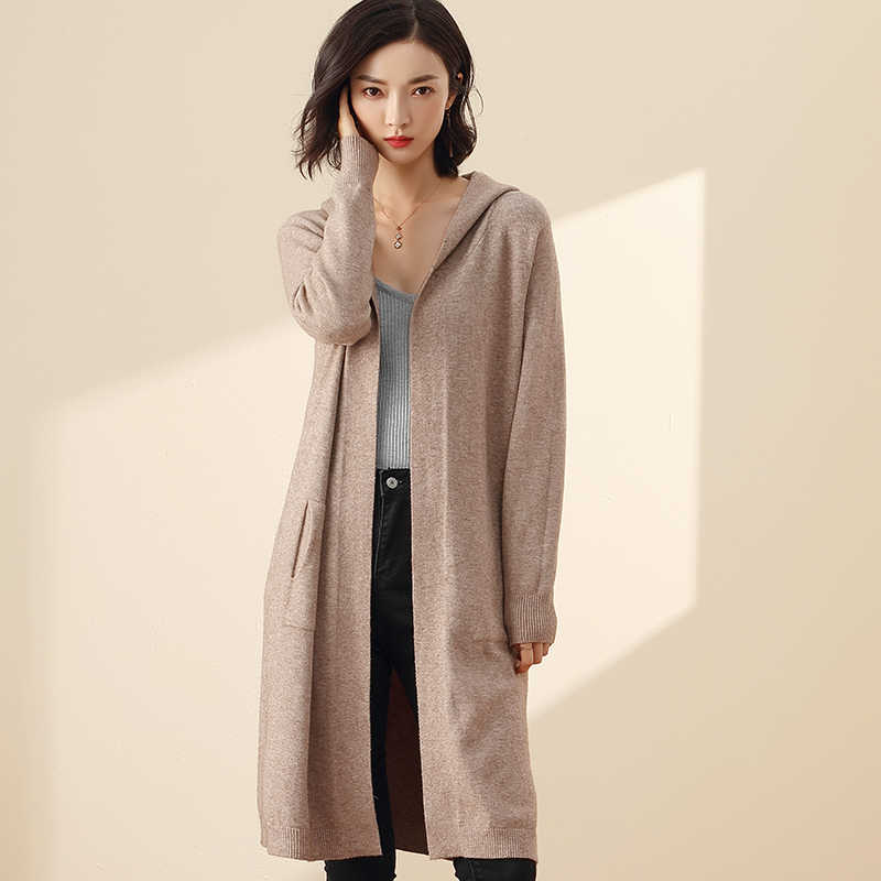 2019Autumn Winter New long coat sweaters with cap women sweater cardigan Cashmere sweater women Knitted Female pull femme Coat