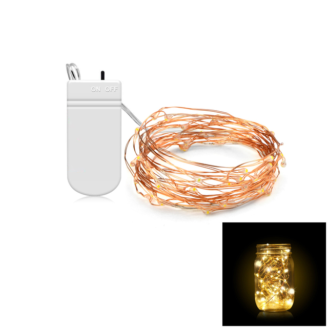 10PCS/ Pack Holiday LED String Lights 2m 5m Copper Wire Battery ...